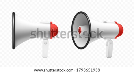 Megaphone speaker or loudspeaker bullhorn, vector realistic 3d mockup. Modern isolated megaphone loudhailer with microphone, red sound horn and handle, lifeguard alert and announcement speakerphone