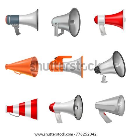 Megaphone vector bullhorn loudspeaker or announce and loud voice in speaker or announcement in horn illustration isolated on white background