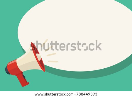 Megaphone with bubble speech. Attract attention. Business vector illustration.