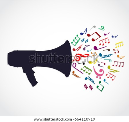 megaphone with color music note