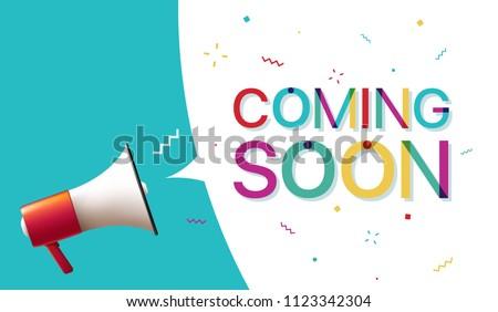 Megaphone with 'Coming Soon' Speech Bubble ストックフォト ©