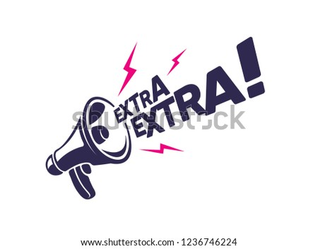 Megaphone with 'Extra Extra' message in Vector. Advertisement for banner, poster and promotion design. ストックフォト ©