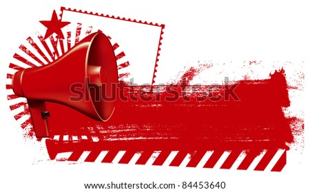megaphone with grunge red banner