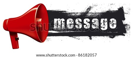 megaphone with horizontal grunge banner - stock vector