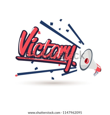 "megaphone with typographic ""victory"" typographic - vector illustration"