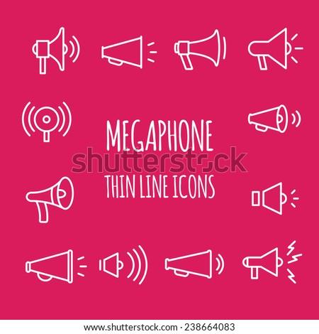 megaphones thin line icons