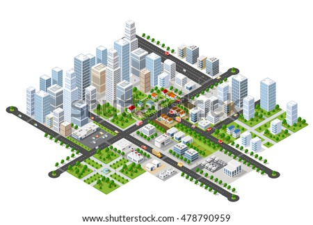 Megapolis 3d isometric three-dimensional view of the city. Collection of houses, skyscrapers, buildings, built and supermarkets with streets and traffic. The stock vector