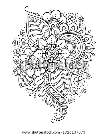 Mehndi flower pattern and mandala for Henna drawing and tattoo. Decoration in ethnic oriental, Indian style. Doodle ornament. Outline hand draw vector illustration. Foto stock ©