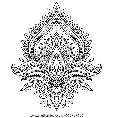 Mehndi Flower Pattern For Henna Drawing Stock Photo 592507424