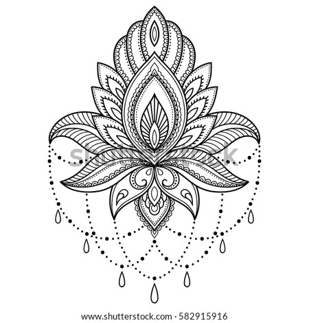 07c8b731d Mehndi lotus flower pattern for Henna drawing and tattoo. Decoration in  ethnic oriental, Indian