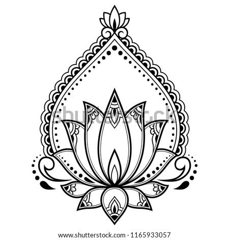 Mehndi Lotus flower pattern for Henna drawing and tattoo. Decoration mandala in ethnic oriental, Indian style.