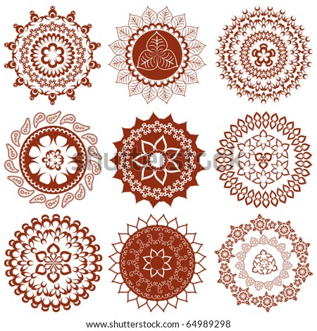Mehndi Mandalas Elements Henna Tattoo Designs Stock Vector 64989298