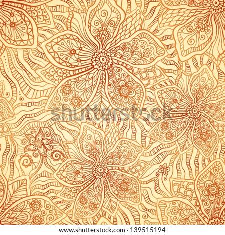 Mehndi ornamental flourish vector seamless pattern in indian style