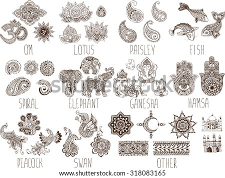 mehndi symbols on a white