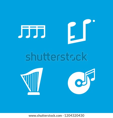 Melody icon. collection of 4 melody filled icons such as disc and music note, harp. editable melody icons for web and mobile.