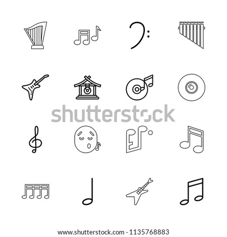 Melody icon. collection of 16 melody outline icons such as gong, music note, treble clef, bass clef, guitar, disc and music note. editable melody icons for web and mobile.