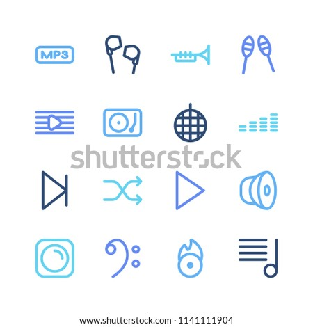 Melody icon set and next with trombone, bass sign and mp3 file. Melody list related melody icon vector for web UI logo design.
