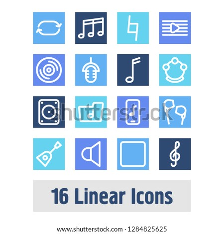Melody icon set and stop with music player, interview and melody list. Clef related melody icon vector for web UI logo design.