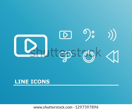 Melody icon set and turn off with bass sign, start and backward. Crotchets related melody icon vector for web UI logo design.