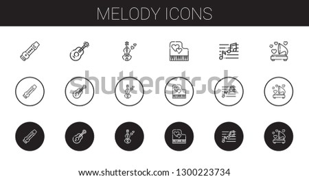 melody icons set. Collection of melody with flute, guitar, violin, piano, note, gramophone. Editable and scalable melody icons.