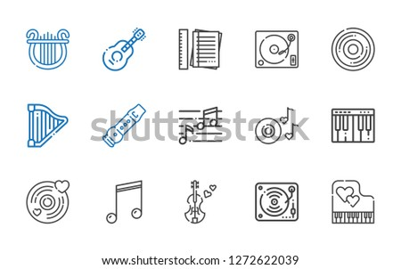 melody icons set. Collection of melody with piano, music, violin, musical note, vinyl, romantic music, note, flute, harp, compact disc, turntable. Editable and scalable melody icons.
