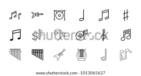 Melody icons. set of 18 editable outline melody icons: note, music note, guitar, treble clef, harmonica, gong, musical sharp, disc and music note, bass clef