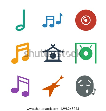 melody icons. Trendy 9 melody icons. Contain icons such as emoji listening music, guitar, music note, gong, note, disc and music note. melody icon for web and mobile.