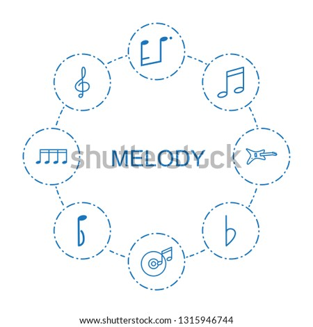 melody icons. Trendy 8 melody icons. Contain icons such as music note, disc and music note, treble clef, bemol, guitar. melody icon for web and mobile.