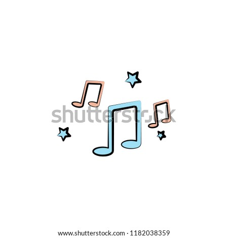melody notes colored icon. Element of birthday icon for mobile concept and web apps. Color melody notes icon can be used for web and mobile on white background