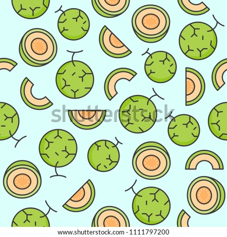 Melon or cantaloupe eamless pattern for wallpaper or wrapping paper