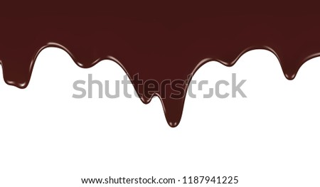 Melted chocolate dripping on white background, realistic vector illustration