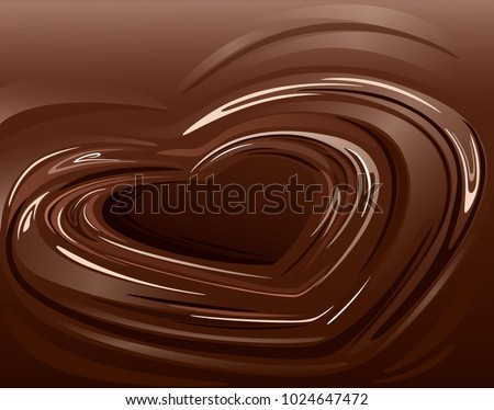 melted chocolate in heart shape