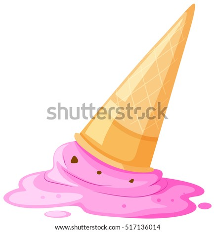 Melted ice cream and cone on the floor illustration