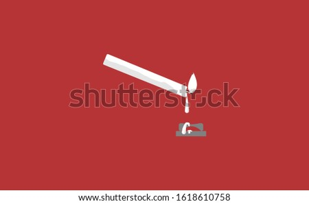 Melted of candle vector in red background. This candle vector has melted wax candles. This candle consists of a candle stick, candles flame and candles holder. Flat Candles vector illustration.