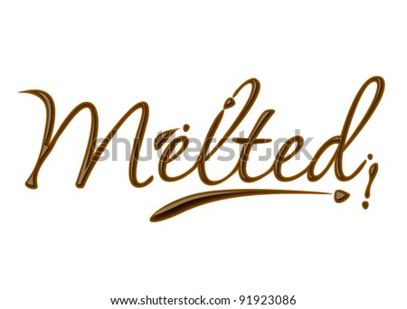 melted text made of chocolate vector design element.