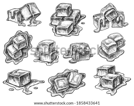 Melted toffee caramel confection engraved sketch set. Hand drawn sweet dessert candy cube or square fudge piece for menu assortment or package design vector illustration isolated on white background