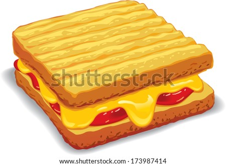 Melted yellow cheese toast vector illustration