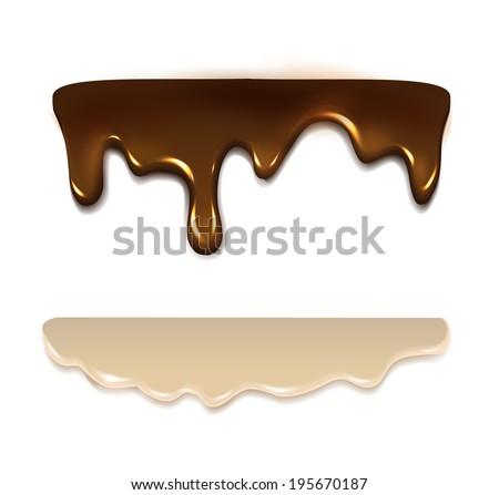Melting chocolate and milk cream. Vector  ストックフォト ©