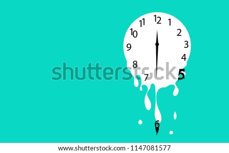 Melting clock flat design vector illustration on green background.