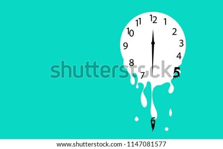 Melting clock flat design vector illustration on green background.