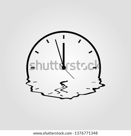 Melting clock simple vector icon isolated on white background. Meited time, organisation of the future or expiration concept with watch symbol