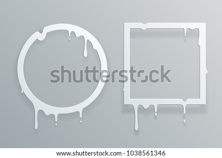 Melting cut paper frame 3d flowing art flux circle drop leak abstract template design vector illustration