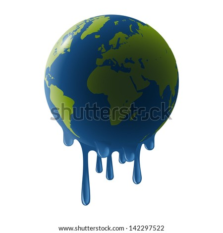 Melting earth, concept of global warming, eps10 vector