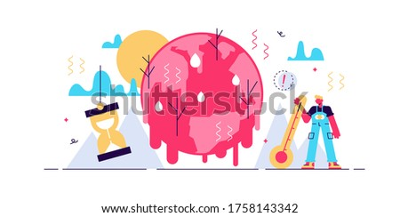 Melting earth vector illustration. Tiny poles ice warming persons concept. Hot climate environment danger with temperature rising and greenhouse effect anomaly. Disaster weather cataclysm ice danger.
