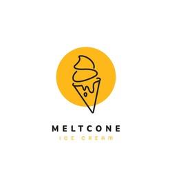 Melting ice cream cone logo modern sophisticated ice cream shop logo in simple style monoline icon
