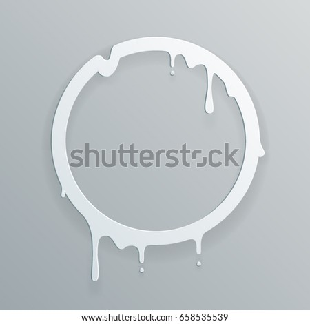 Melting paper frame flowing art 3d flux circle drop leak abstract design template vector illustration
