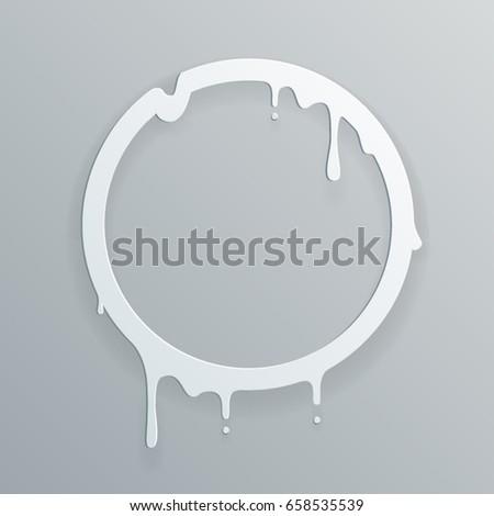 Melting paper frame flowing art 3d flux circle drop leak abstract design template vector illustration