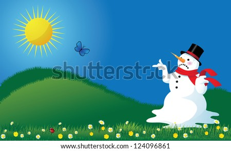 Melting Snowman in Springtime Background