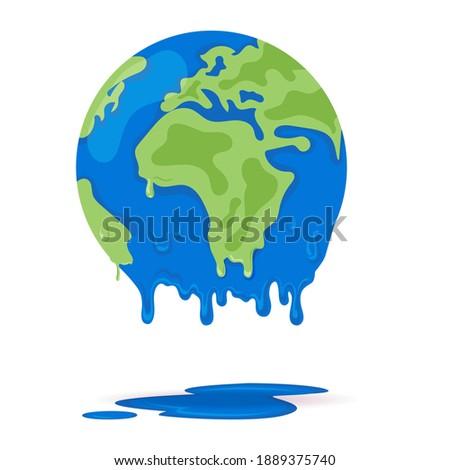 Melting world showing global warming.Melting world. Concept global warming, take care world ,vector illustration. Melting earth, concept of global warming,