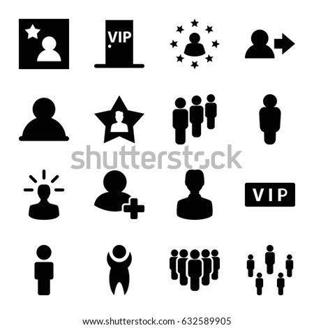 Member icons set. set of 16 member filled icons such as vip, add friend, favourite user, favorite photo, vip door, user bulb, group